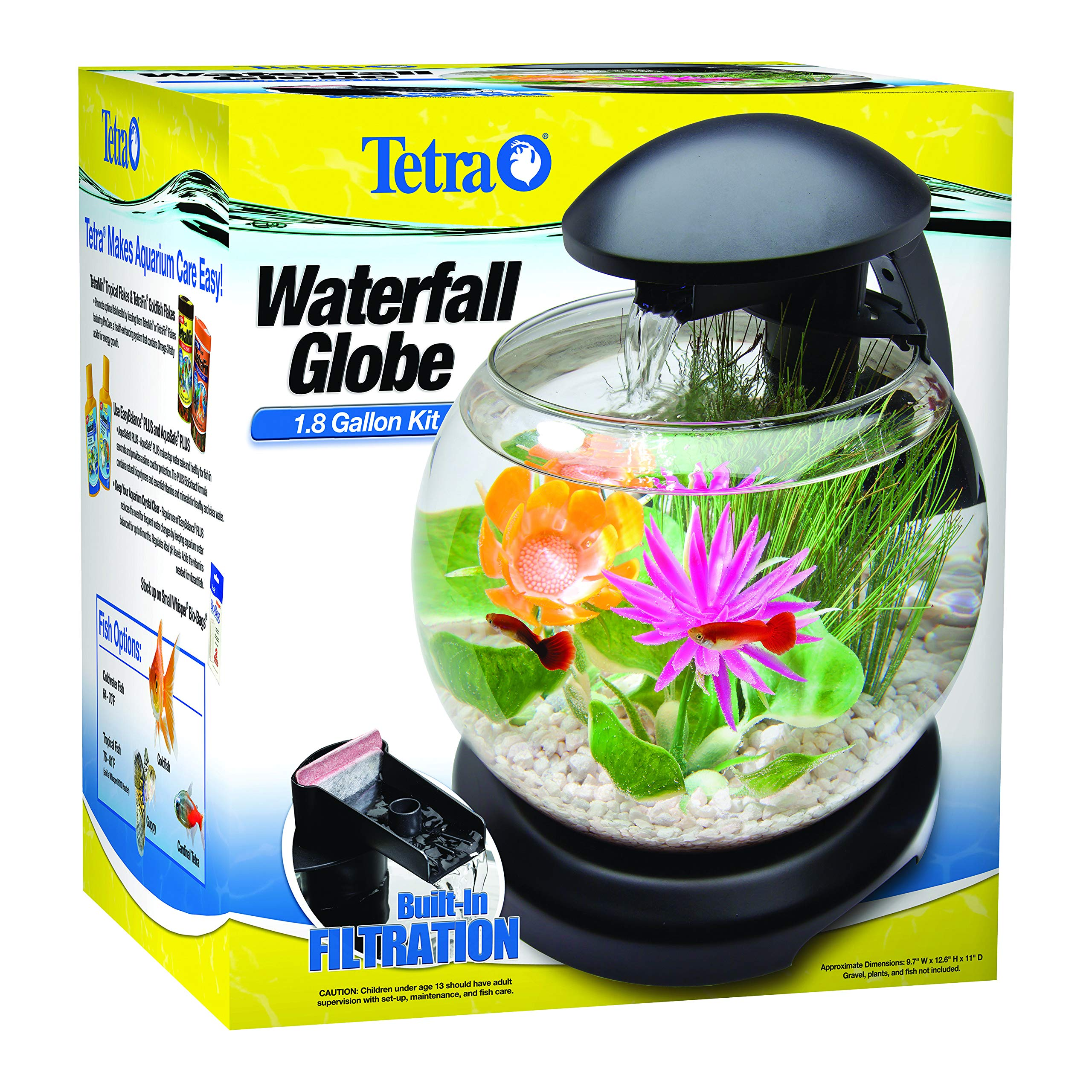 Tetra Waterfall Globe Kit 1.8 Gallons, Aquarium With Filtration by Tetra
