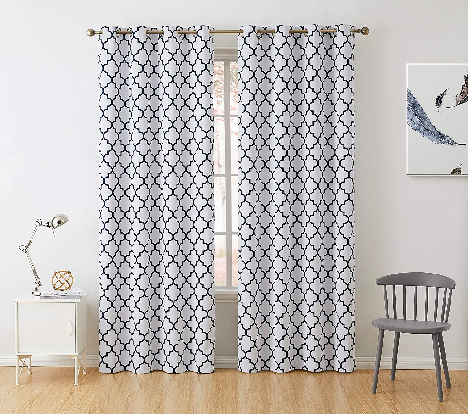 """HLC.ME Lattice Print Thermal Insulated Blackout Room Darkening Window Curtains for Bedroom - Platinum White & Navy Blue - 52"""" W x 84"""" L - Pair"""