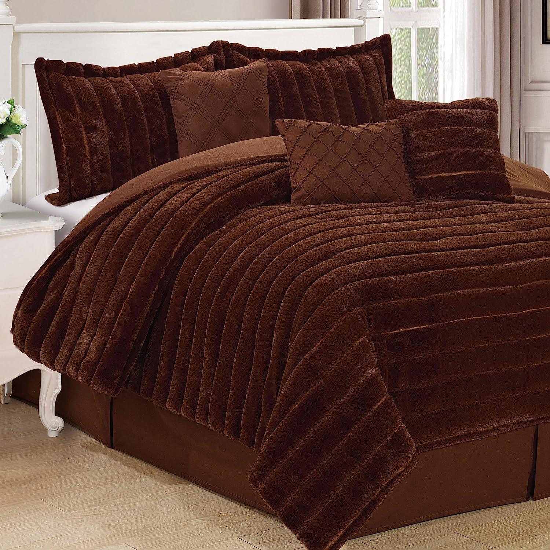 Home Soft Things Serenta Rabbit Faux Fur 7 Piece Comforter Sets, King, Carafe