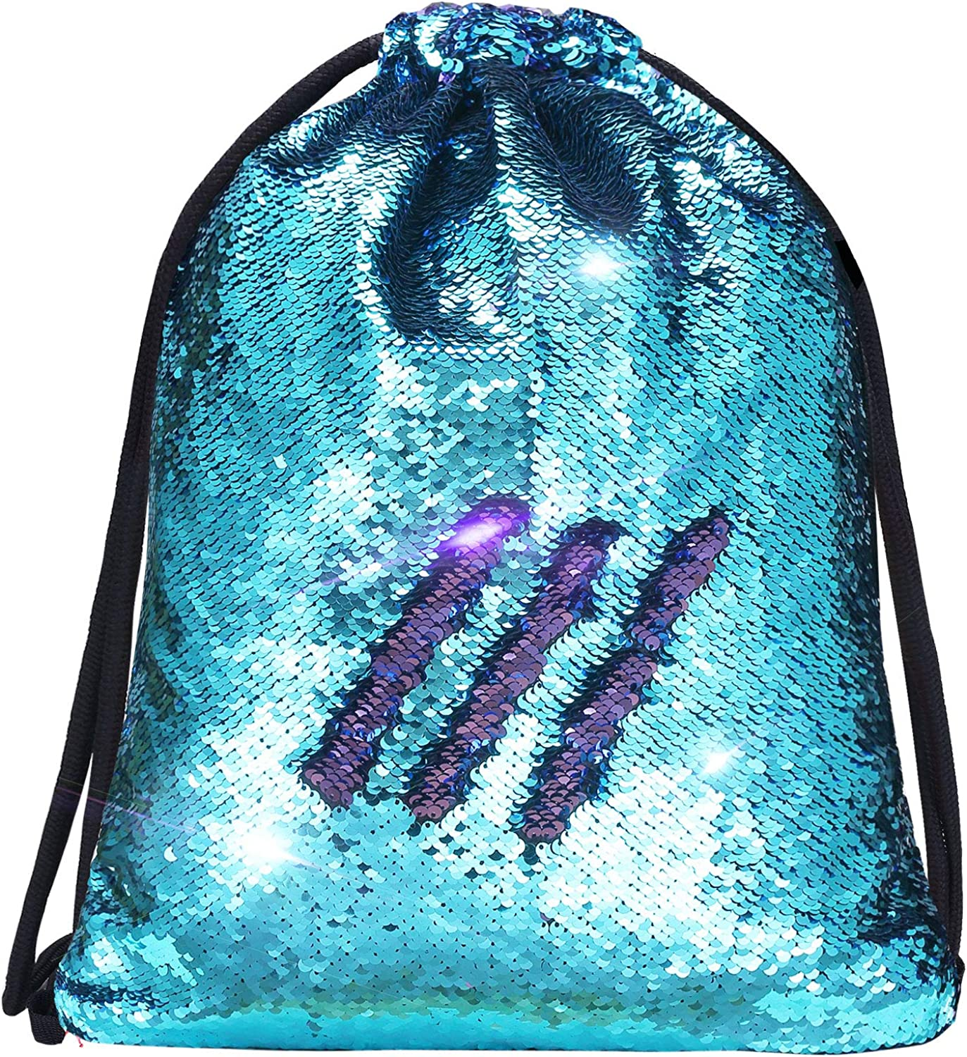Blue//Pink /& Rainbow//Silver Sequin Drawstring Bag 2 Pack Reversible Sequin Dance Bags Backpacks for Girls Kids Sequin Mermaid Backpack