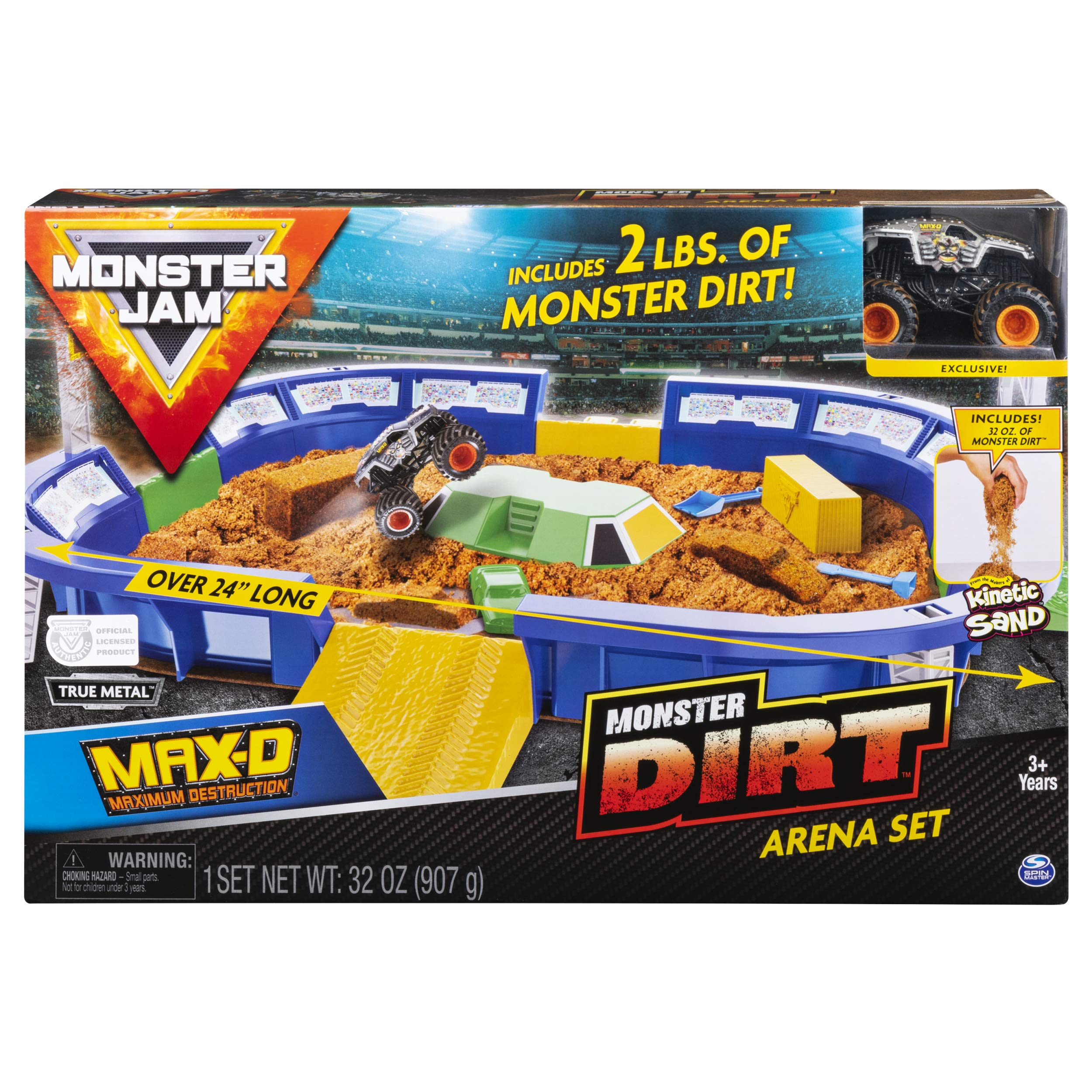 Monster Jam, Monster Dirt Arena 24'' Playset with 2lbs of Monster Dirt & Exclusive 1: 64 Scale Die-Cast Truck