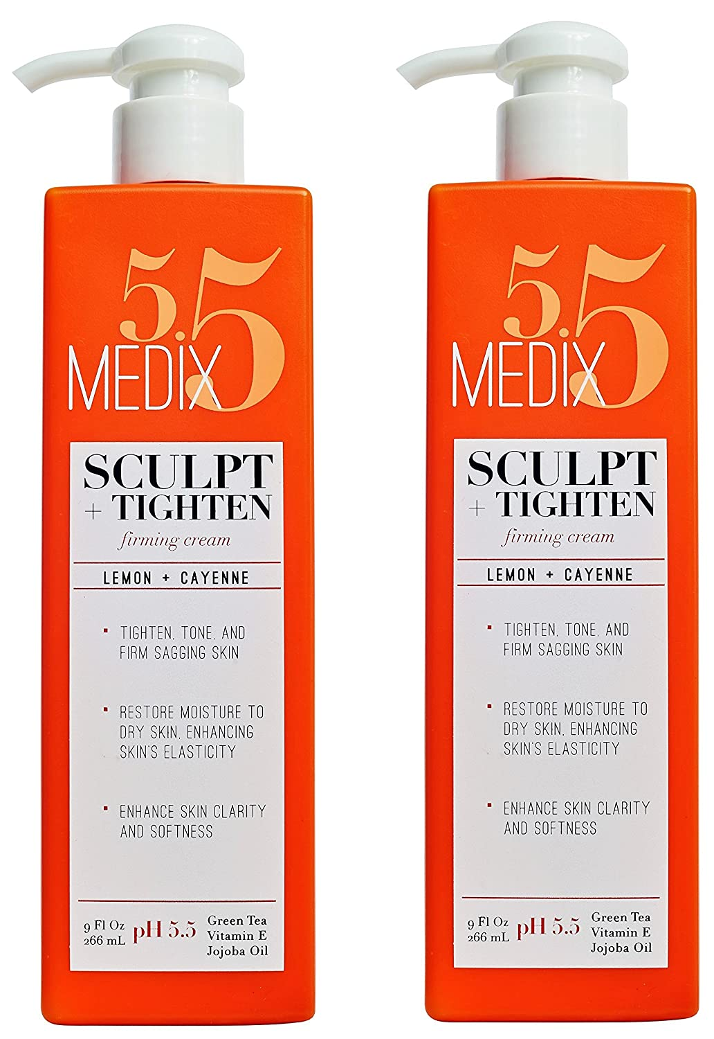 8f664bbca9d Amazon.com: Medix 5.5 Firming Cream with Vitamin E, Jojoba Oil, Green Tea.  Sculpt + Tighten Cream for sagging skin. (Two - 9oz): Beauty