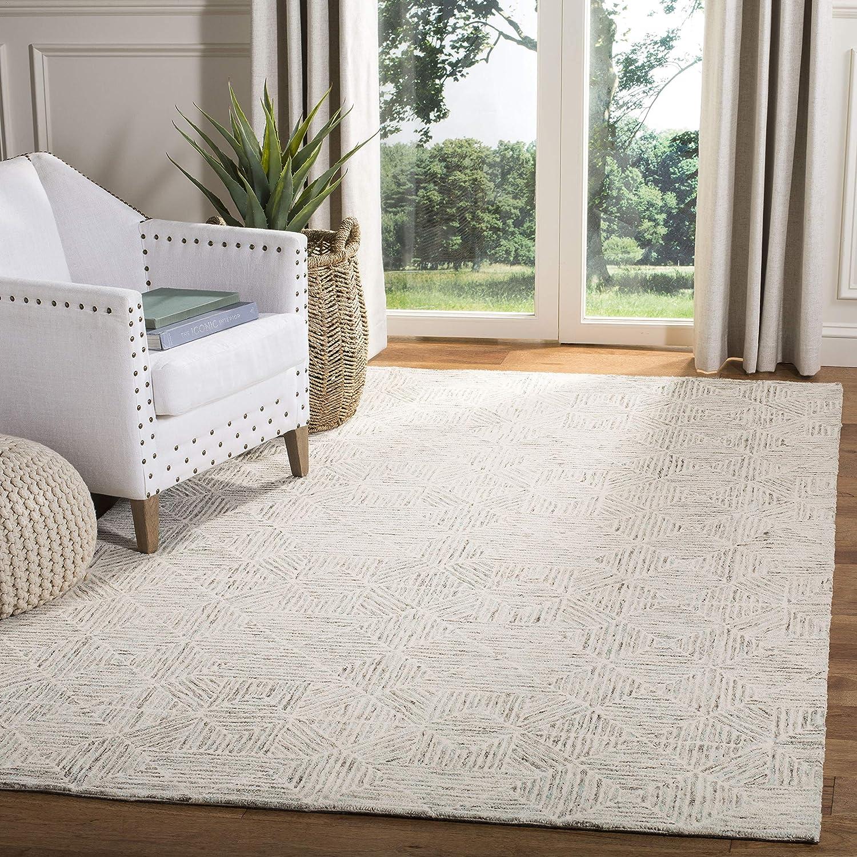 Amazon Com Safavieh Abstract Collection Abt763j Handmade Premium Wool Area Rug 6 X 9 Light Blue Furniture Decor