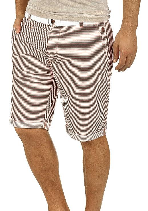 Blend Quantigo Herren Chino Shorts Bermuda Kurze Hose Mit Gürtel Und Streifen-Muster Aus 100% Baumwolle Regular Fit
