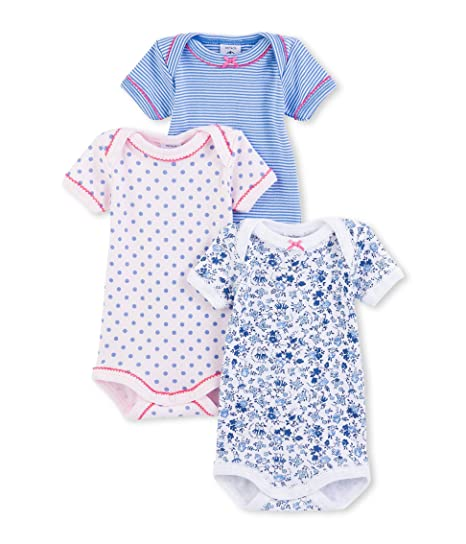 Amazon.com  Petit Bateau Girls  3 Pack Printed Bodysuits bb36e443671