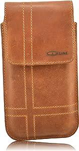 OrLine Holster Funda Vertical para móviles Samsung Galaxy J32016Cinturón Bolsa y trabilla de Slim Design Case Funda De Piel Funda Funda Hecho a Mano en Color marrón Nobuck con Cierre magnético