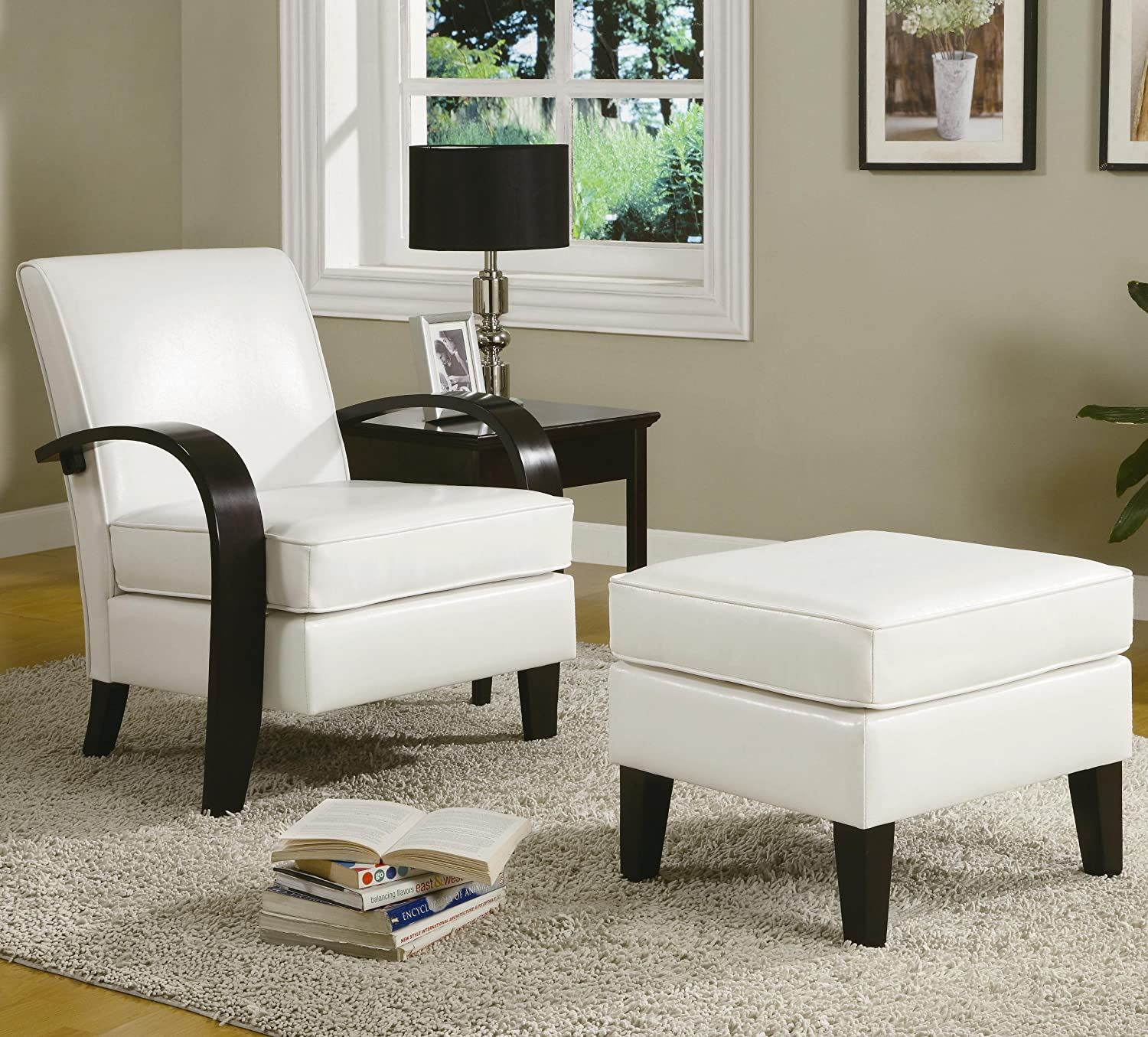 Amazon com  Roundhill Furniture Wonda Bonded Leather Accent Arm Chair with  Ottoman  White  Kitchen   DiningAmazon com  Roundhill Furniture Wonda Bonded Leather Accent Arm  . Modern Living Room Accent Chairs. Home Design Ideas