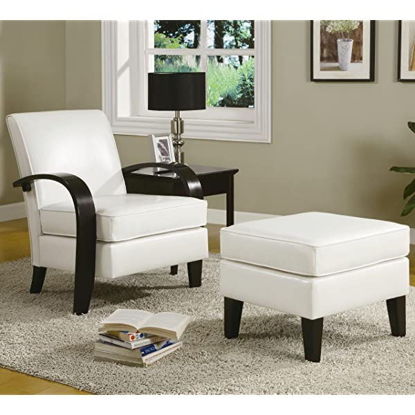 Roundhill Furniture Wonda Bonded Leather Accent Arm Chair with Ottoman, White