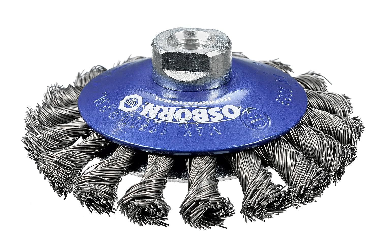 Osborn kegelbürste pour meuleuse d'angle diamètre 115 mm - 100 x 13 mm-filetage m 14 x 2, gezopfter d'acier 0,5 mm, bleu, 2622151 tÜV