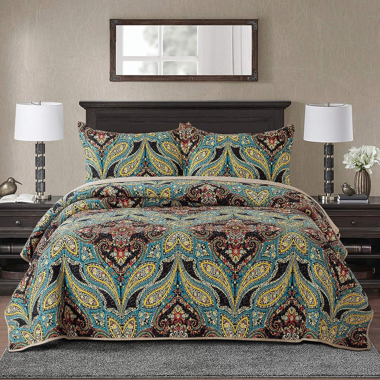 NEWLAKE Cotton Bedspread Quilt Sets-Reversible Patchwork Coverlet Set, European Rouge Floral Pattern, King Size