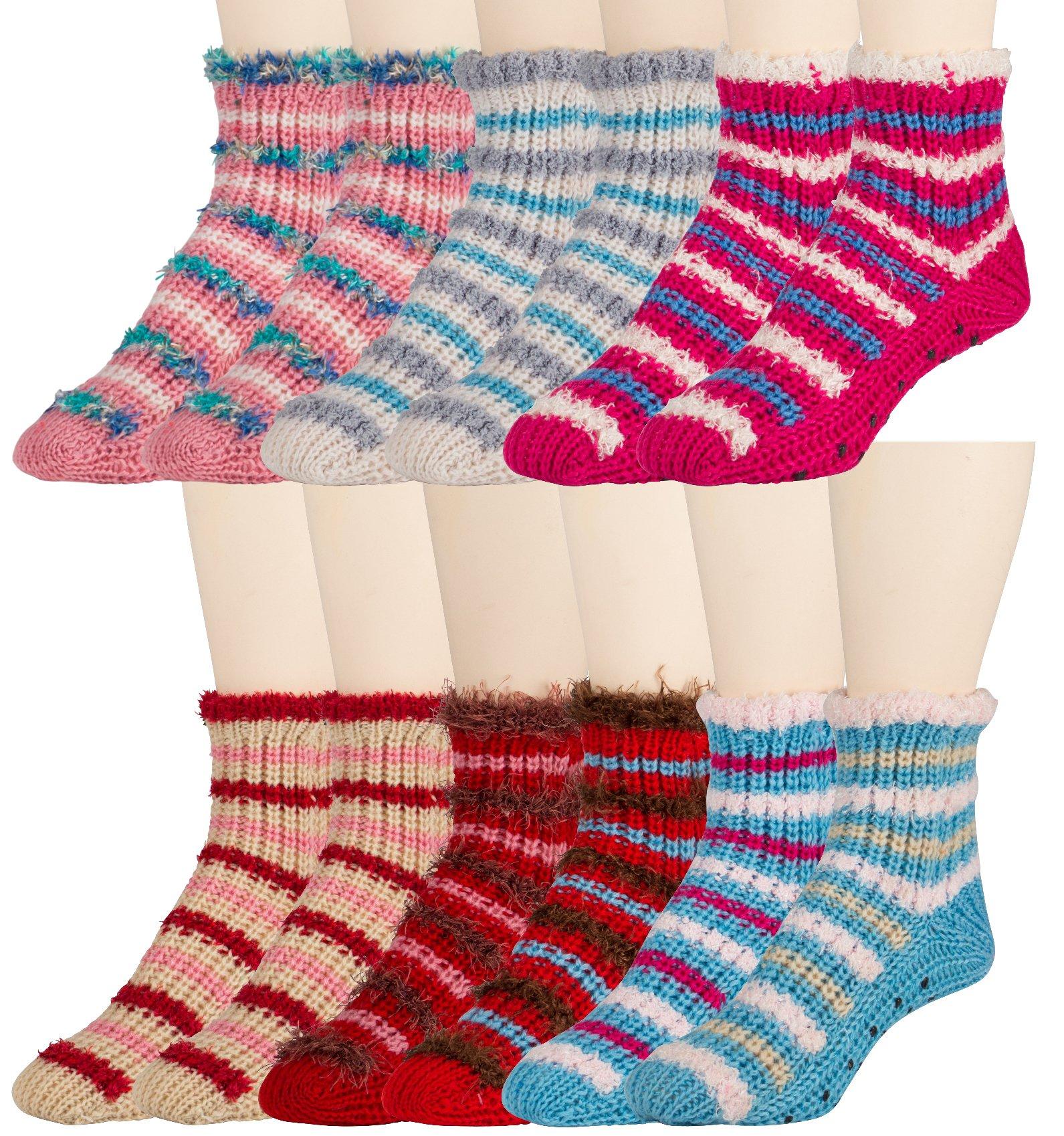 6 Pairs of Ladies Heavy Knit Snow Flake Reindeer Print Slipper Sock With Gripper Bottom (Assorted B)