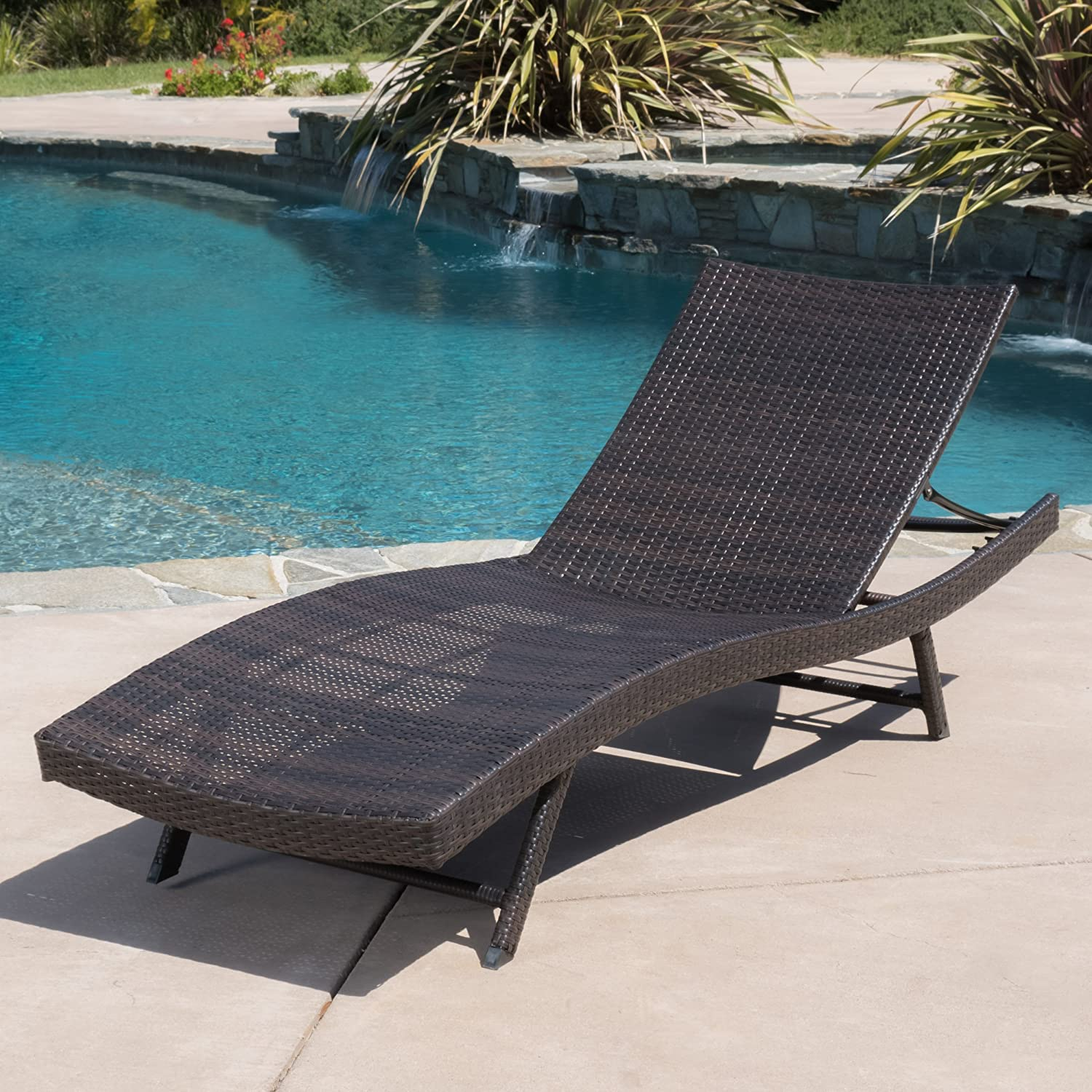 PATIORAMA Outdoor Adjustable Pool Rattan Chaise Lounge Chair with Steel Frame Patio Furniture, Espresso Brown PE Wicker