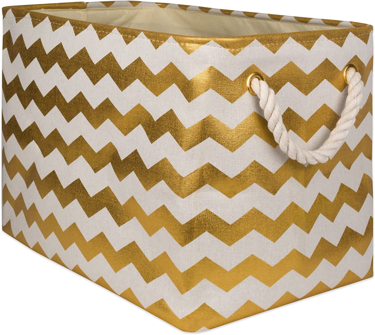 "DII Collapsible Polyester Storage Basket or Bin with Durable Cotton Handles, Home Organizer Solution for Office, Bedroom, Closet, Toys, & Laundry (Medium – 16x10x12""), Gold Chevron"