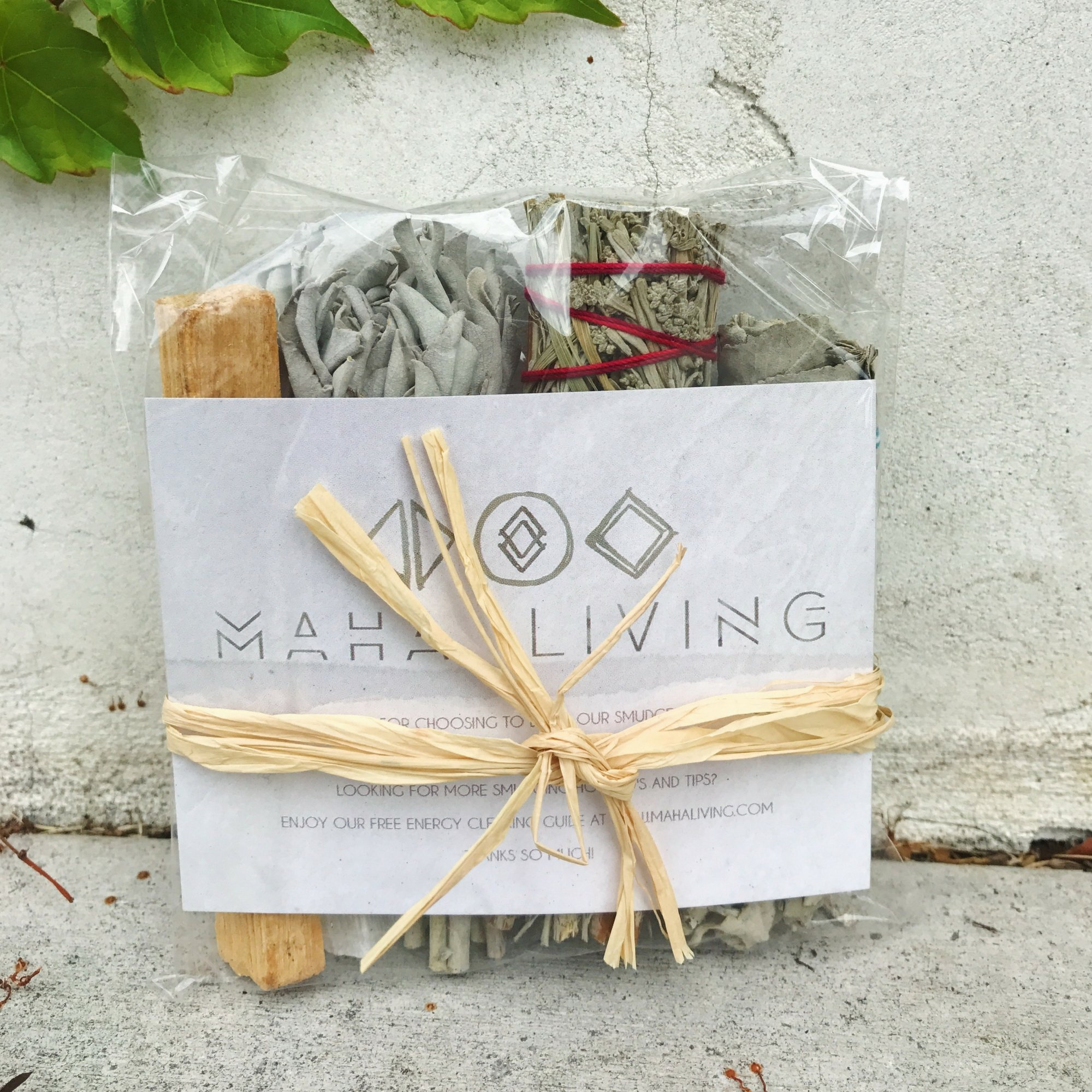 Sage Smudge Stick Kit - White Sage, Palo Santo, Mini Sage, Sage and Sweetgrass Smudging Sticks PLUS a Selenite Crystal & How to Guide for Cleansing your Home - Hand tied in California (Selenite) by Maha Living (Image #6)