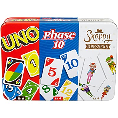 Mattel Games: 3-in-1 - UNO, Phase 10, and Snappy Dressers (Tin Box): Toys & Games