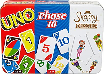 Phase 10 /& Snappy Dressers Collector Tin Card Famiy Games 3 Mattel Games UNO