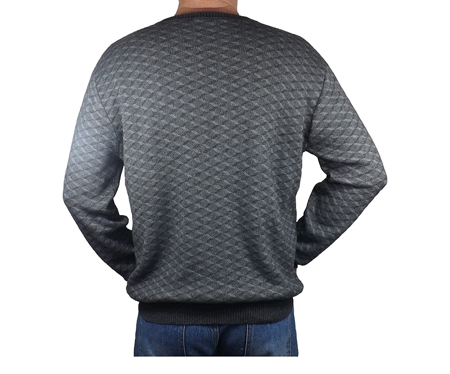 Cashmere/Lambswool Crew Neck Geometric Pattern Double Face Jumper For Men