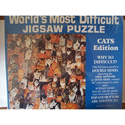 """World's Most Difficult Jigsaw Puzzle """" Cats Edition """" Double Sided - 529...: Toys & Games"""