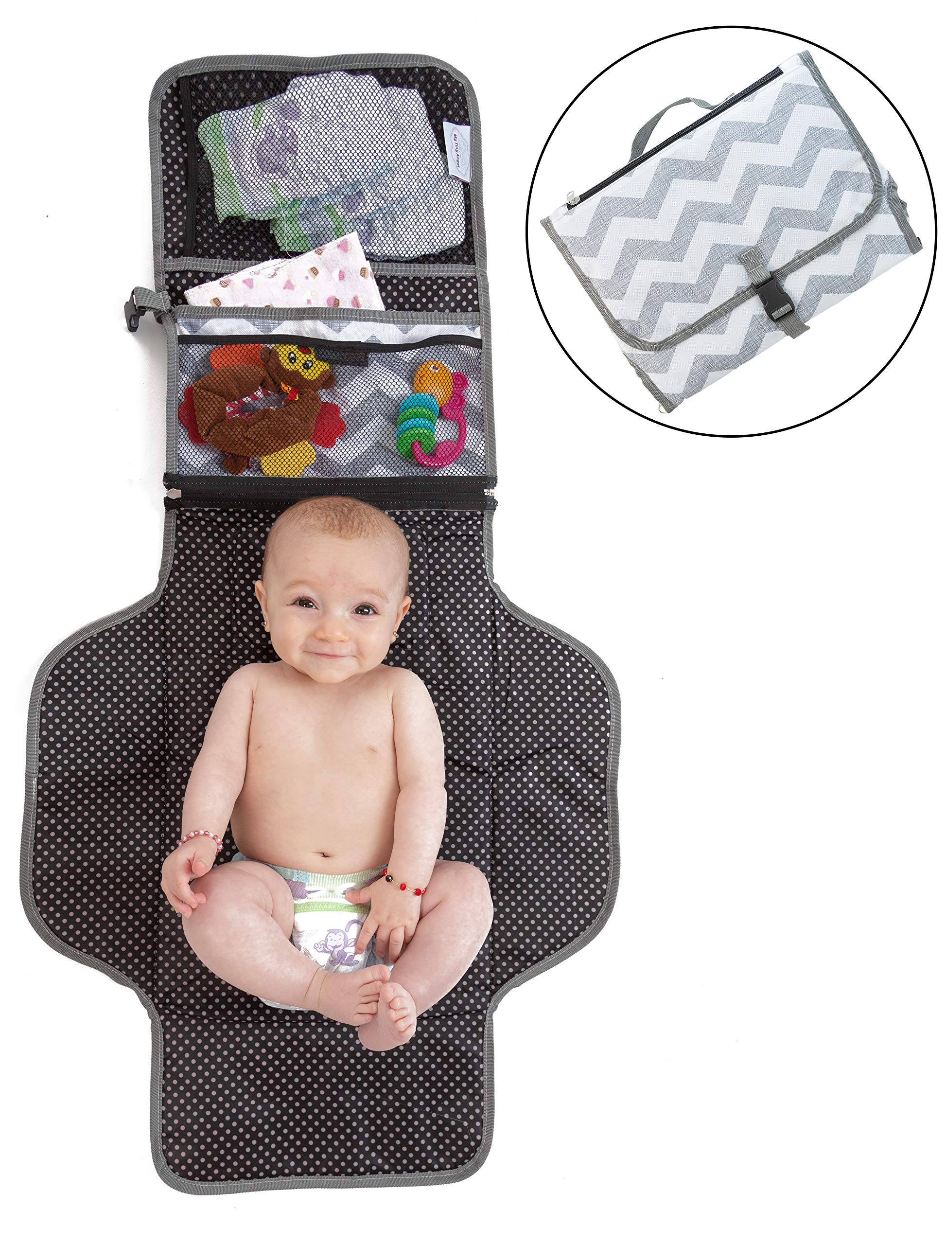 Portable Changing Pad - Padded Baby Changing Station, Portable, Foldable, Detachable - Zippered and Mesh Pockets - Ideal For Travel - Easy to Clean Waterproof Baby Diaper Mat, Perfect Baby Shower Gift by My Tiny Angel