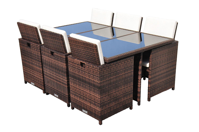 VILLANA exklusive Esstischgruppe aus hochwertigem Polyrattan in braun, Glastischplatte ca. 175 x 115 x 74 cm, inkl. Polster und Kissen, Gartentisch Set für 6 Personen, Tisch und 6 Stühle, wetterfest