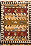 "Ecarpetgallery Hand-woven Ankara Kilim Geometric 6'7"" x 9'7"" Red 100% Wool area rug"