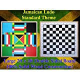 Jamaican Ludo (Standard Theme) + Checkers | 2ft x 2ft Double Sided Game Board + Game Pieces & Dice | Family Game Night