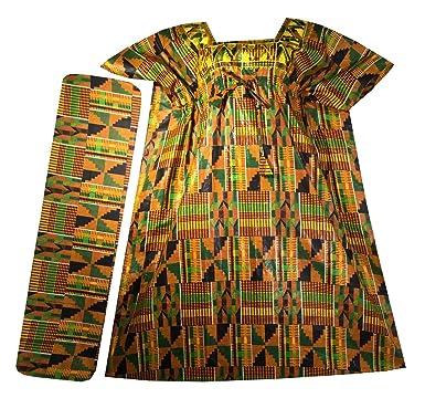 267aa4d2903 Amazon.com  Womens African Dress Traditional Dashiki Maxi Caftan Cotton  Kaftan One Size (Orange Green Wine P03 Kaftan)  Clothing