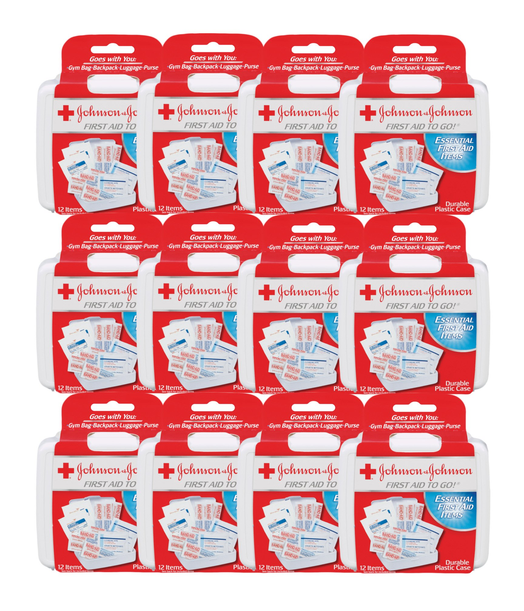 First Aid to Go! – by Johnson & Johnson – Essential Items in a Mini First Aid Travel Kit for People on the Go – 12 Packs of 12 Count Kits