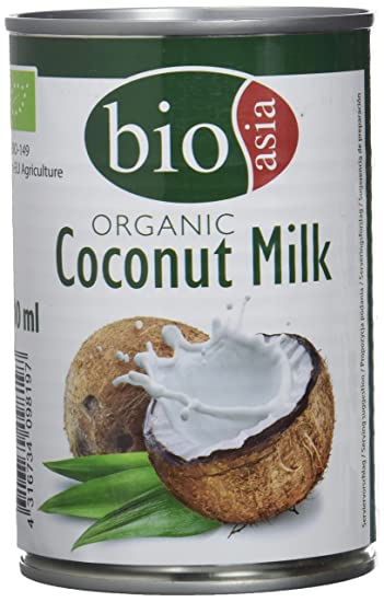 Bioasia Leche de Coco Orgánica, Contenido de Grasa 18% - 12 Latas