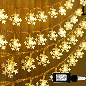 Joiedomi 100 LED Christmas Lights (8 Modes), 35.9 ft Snowflake String Lights, Fairy Lights for Christmas Garden Patio Bedroom Party Decor Indoor Outdoor Celebration Lighting