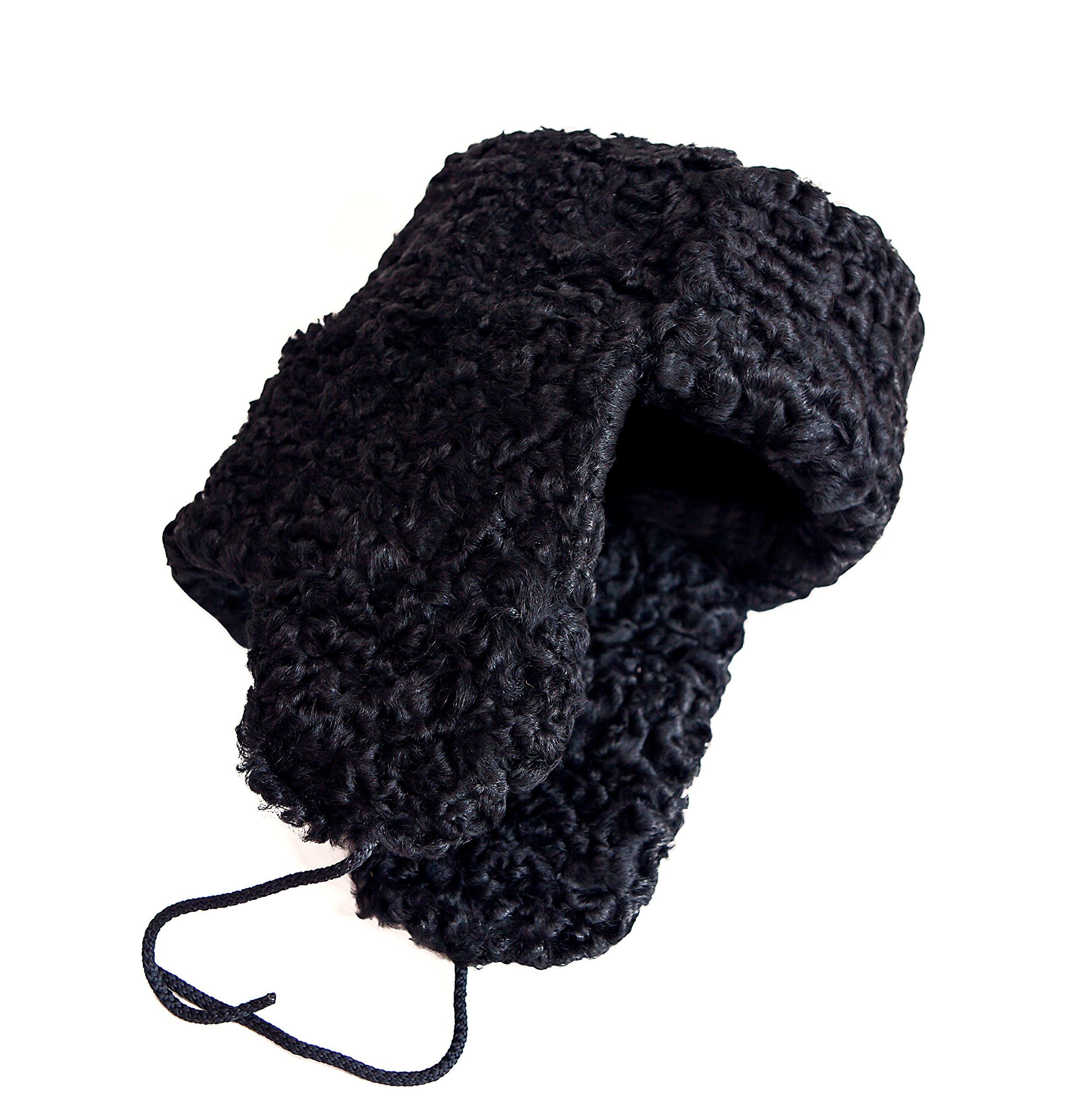 Karakul Astrakhan Fur Sheepskin Ushanka Hat. Black. 63