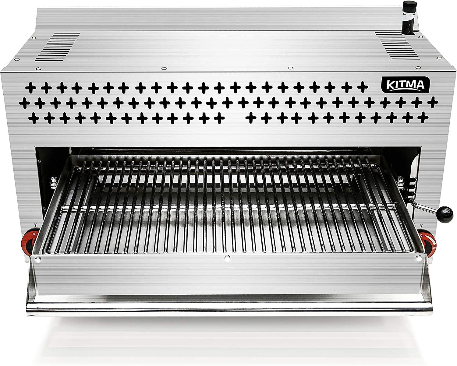Commercial Salamander Broiler, KITMA Natural Gas Cheese Melter Salamander Broiler, 36 Inches Countertop with 2 Burners 43000BTU for Chips, Toast Sandwiches, Pizzas Grill