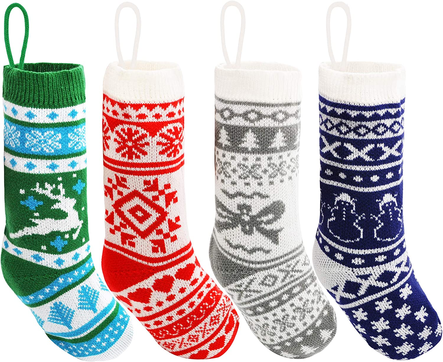 """Large Size Rustic Cable Knit Xmas Stocking in Multicolored Joiedomi 18/"""" Christmas Stockings 4 Pcs for Family Holiday Season Decorations"""