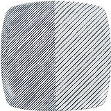 白山陶器 反角多用皿 青 (約)21×21×3.8cm  重ね縞 KASANEJIMA 波佐見焼 日本製