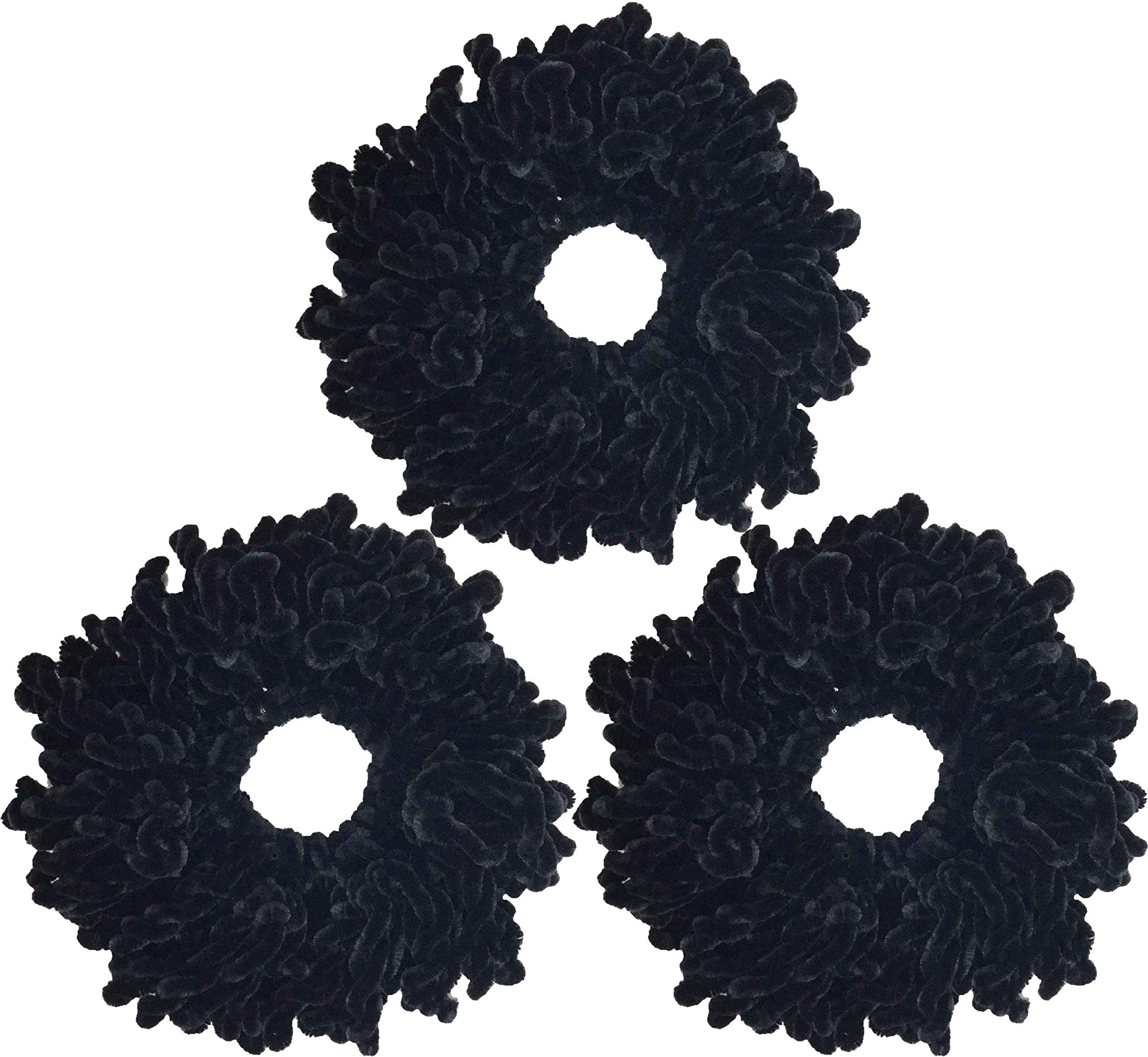 Ababalaya Women's 3pcs Volumising Scrunchie Big Hair Tie Ring Hijab Volumizer Khaleeji Headwear,Black 3pcs