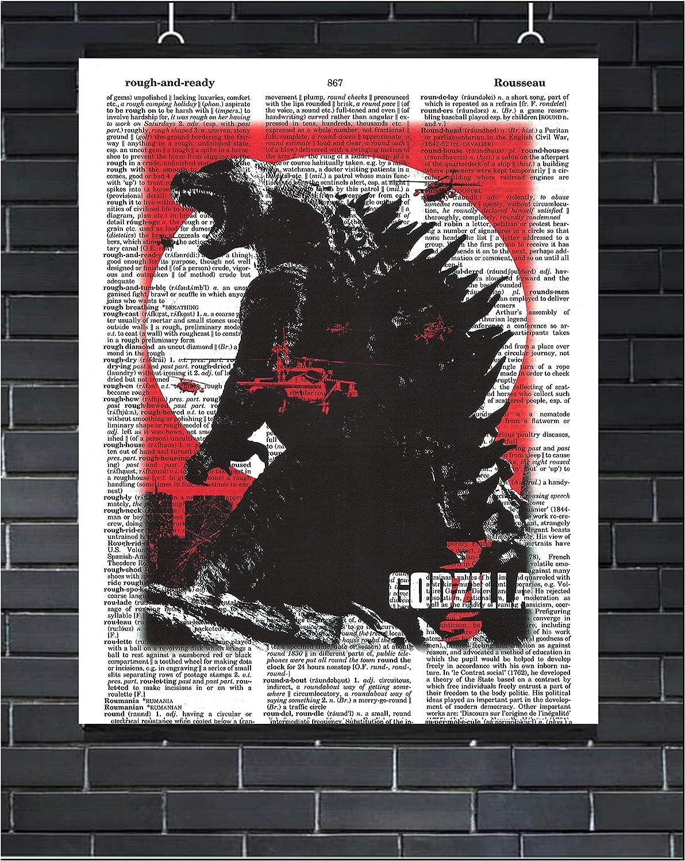 Godzilla Movie Poster Nuclear Reptile Wall Decor Godzilla Dictionary Art Print