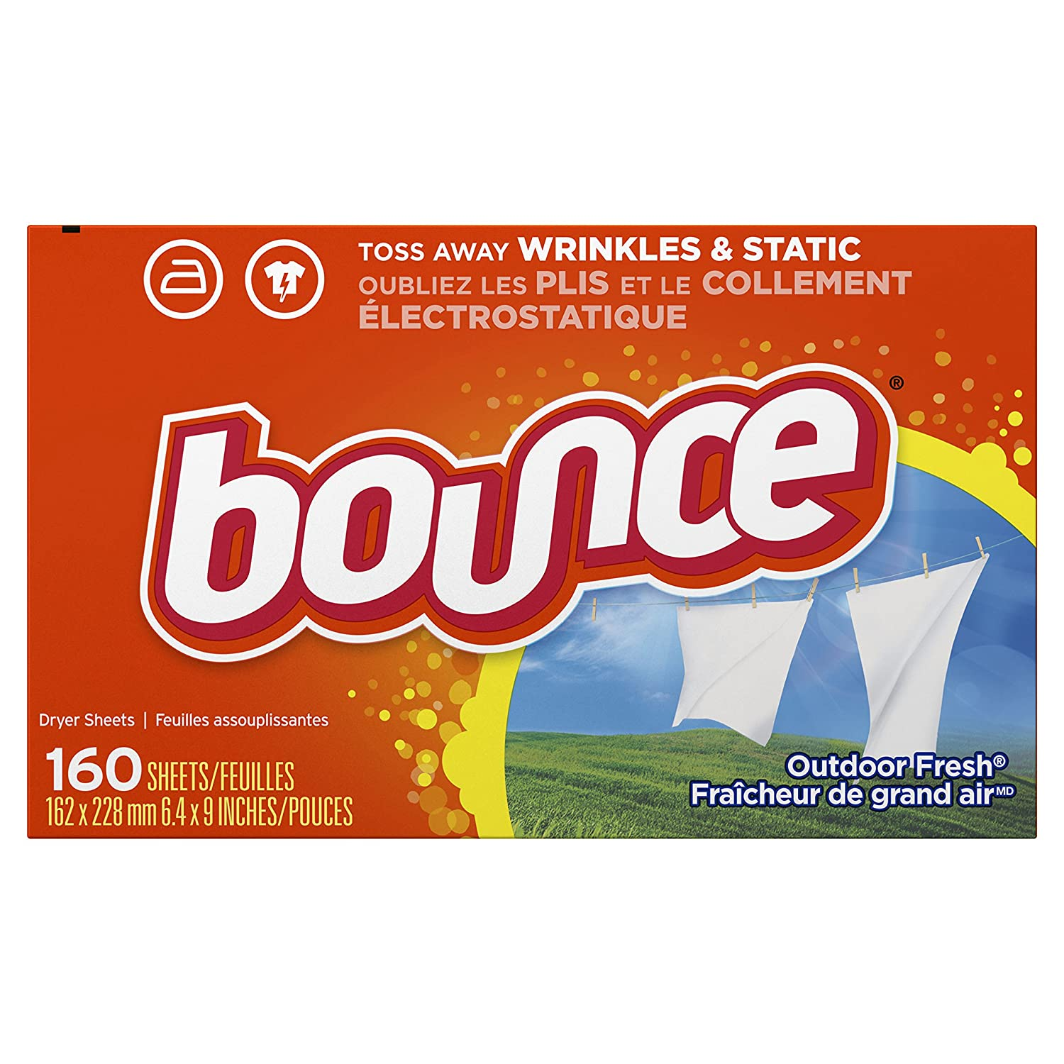 Bounce Fabric Softener Sheets, Outdoor Fresh, 160 Count