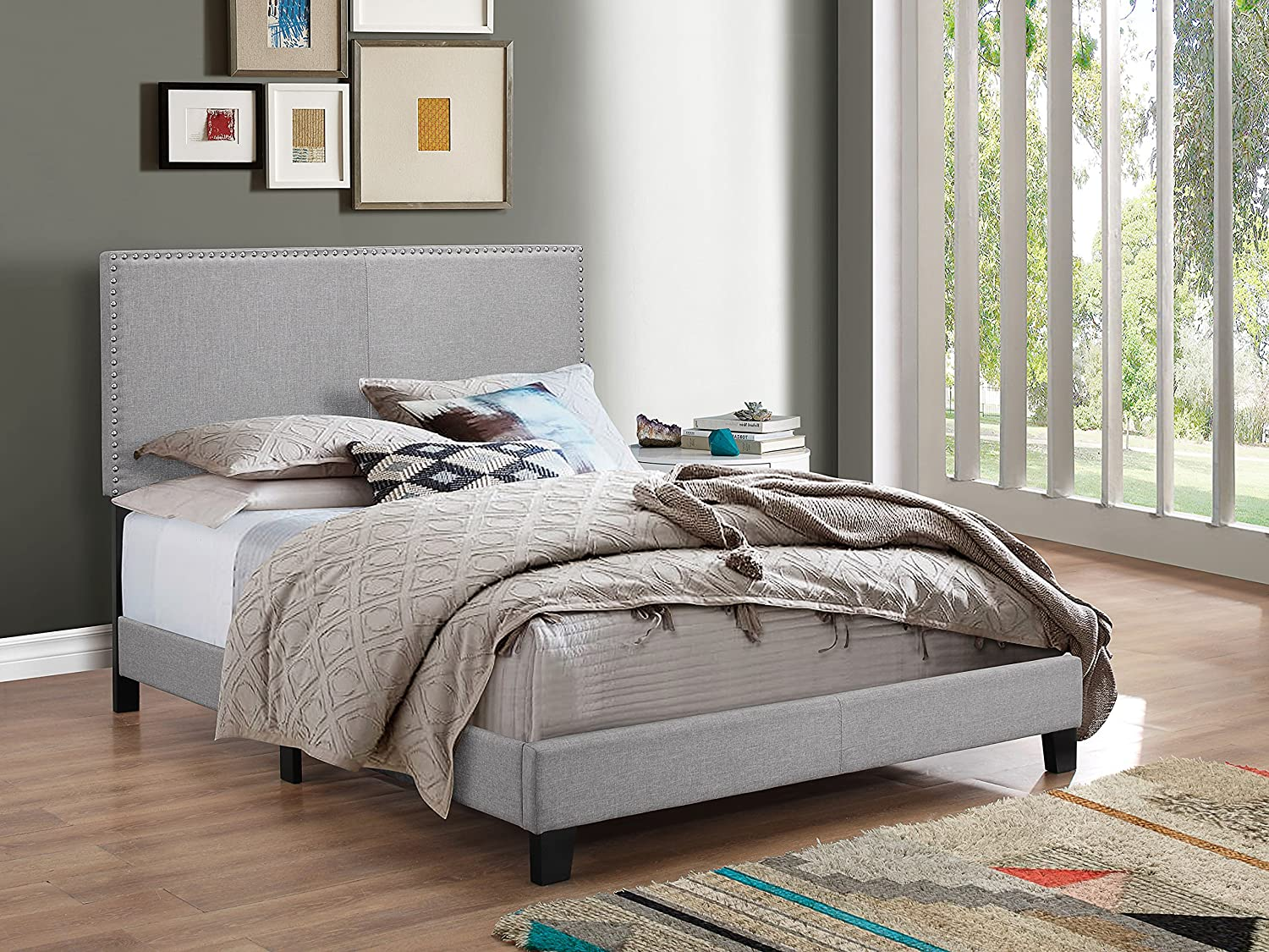 Crown Mark Upholstered Panel Bed in Gray, with Nailhead, Full