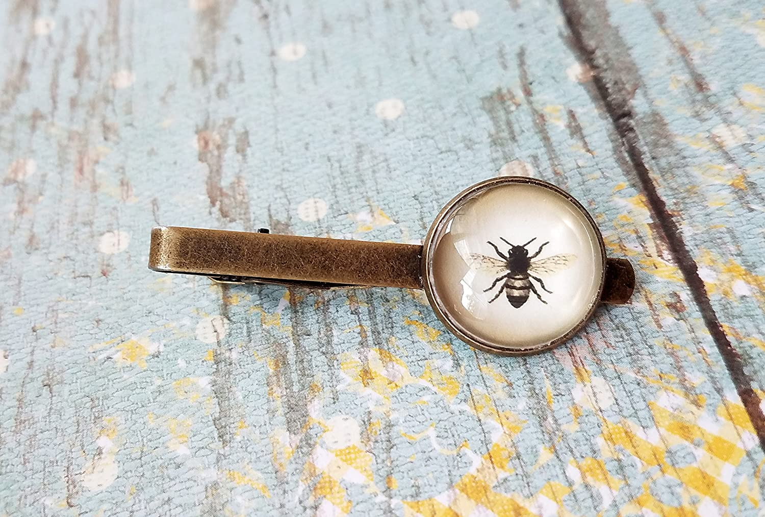 Vintage style silver bumblebee honeybee bee tie bar clip  handmade in the USA  unique unisex statement  mens for him Father/'s Day gift