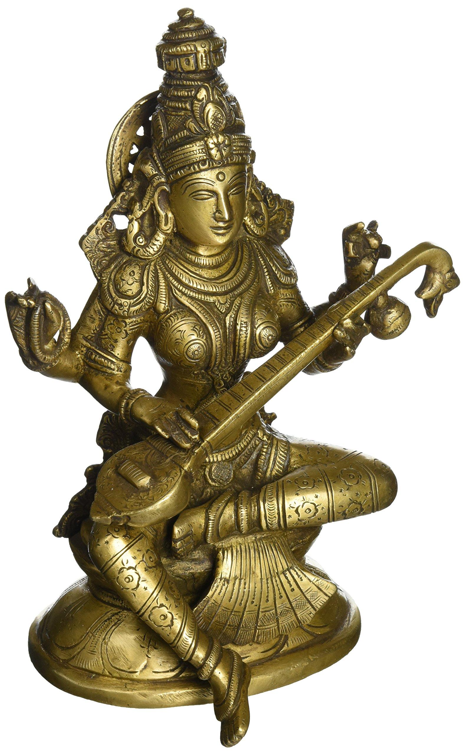 Religious Brass Figurines For Puja Goddess Saraswati Hindu Decor 8 Inch 1.62 Kg