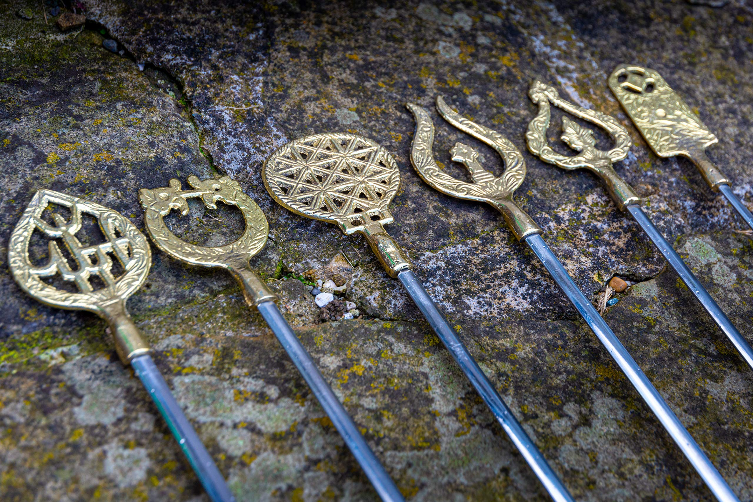 JD Europe Ltd 12 pcs Vintage Turkish Stainless Steel Barbecue Skewers with Brass Handles. Made in Turkey. by JD Europe
