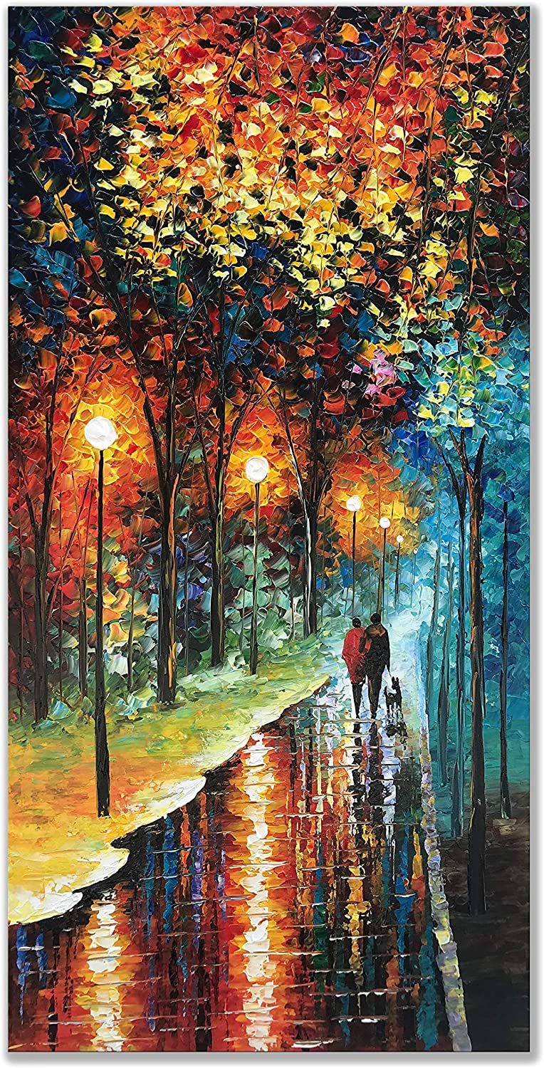 Amazon Com Zoinart 100 Hand Painted 3d Abstract Oil Painting On Canvas 48x24 Inch Romantic Couple Walk At Rainy Night Blue Artwork Vertical Paintings Canvas Wall Art Wall Decorations Ready To Hang Paintings