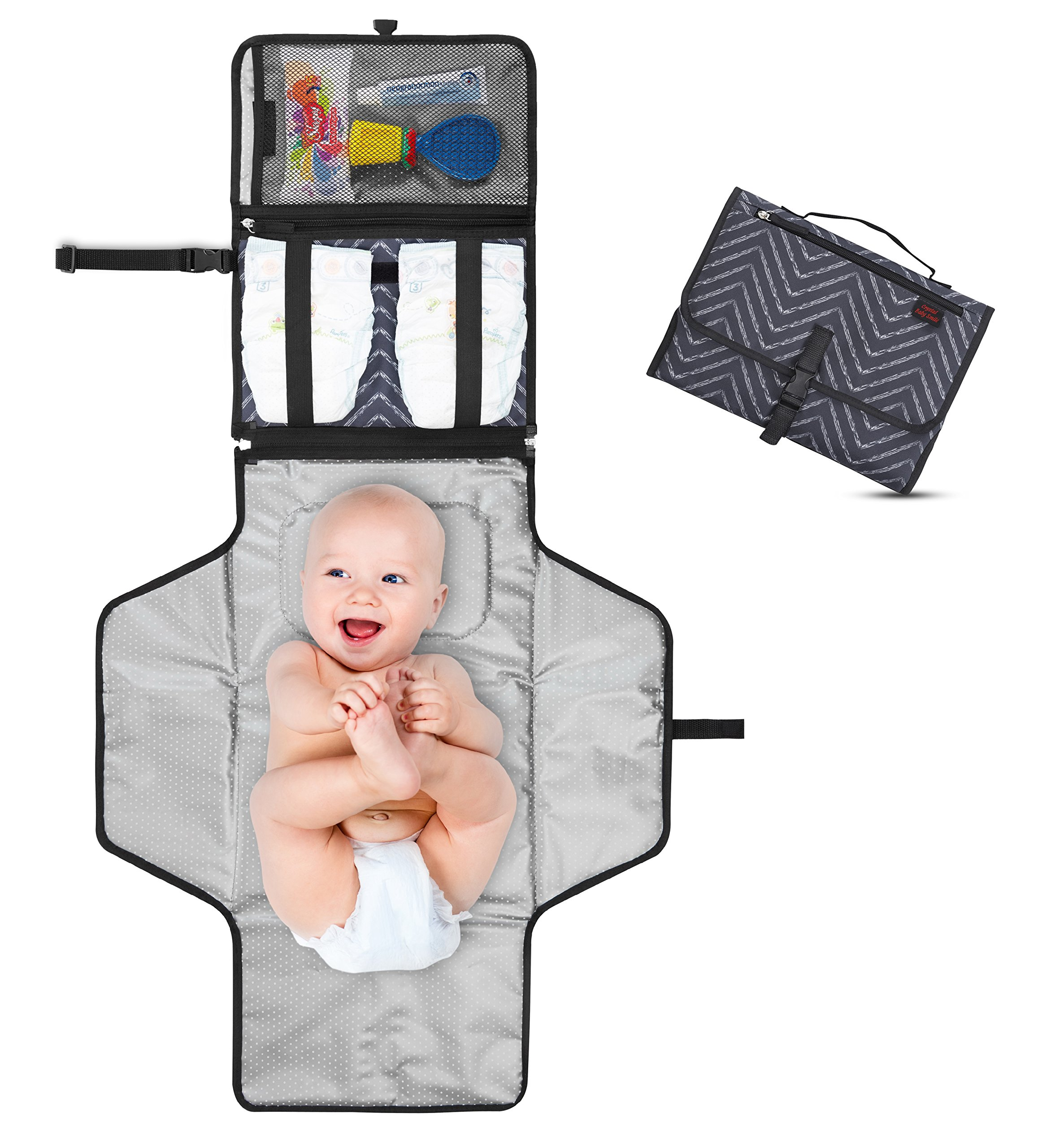 Crystal Baby Smile Portable Changing Pad - Diaper Clutch - Lightweight Travel Station Kit for Baby Diapering - Entirely Padded, Detachable and Wipeable Mat - Mesh and Zippered Pockets - Dark Gray