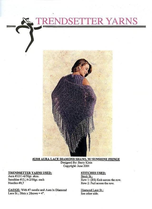Trendsetter Yarns Knitting Pattern #2308 Aura Lace Diamond Shawl W ...