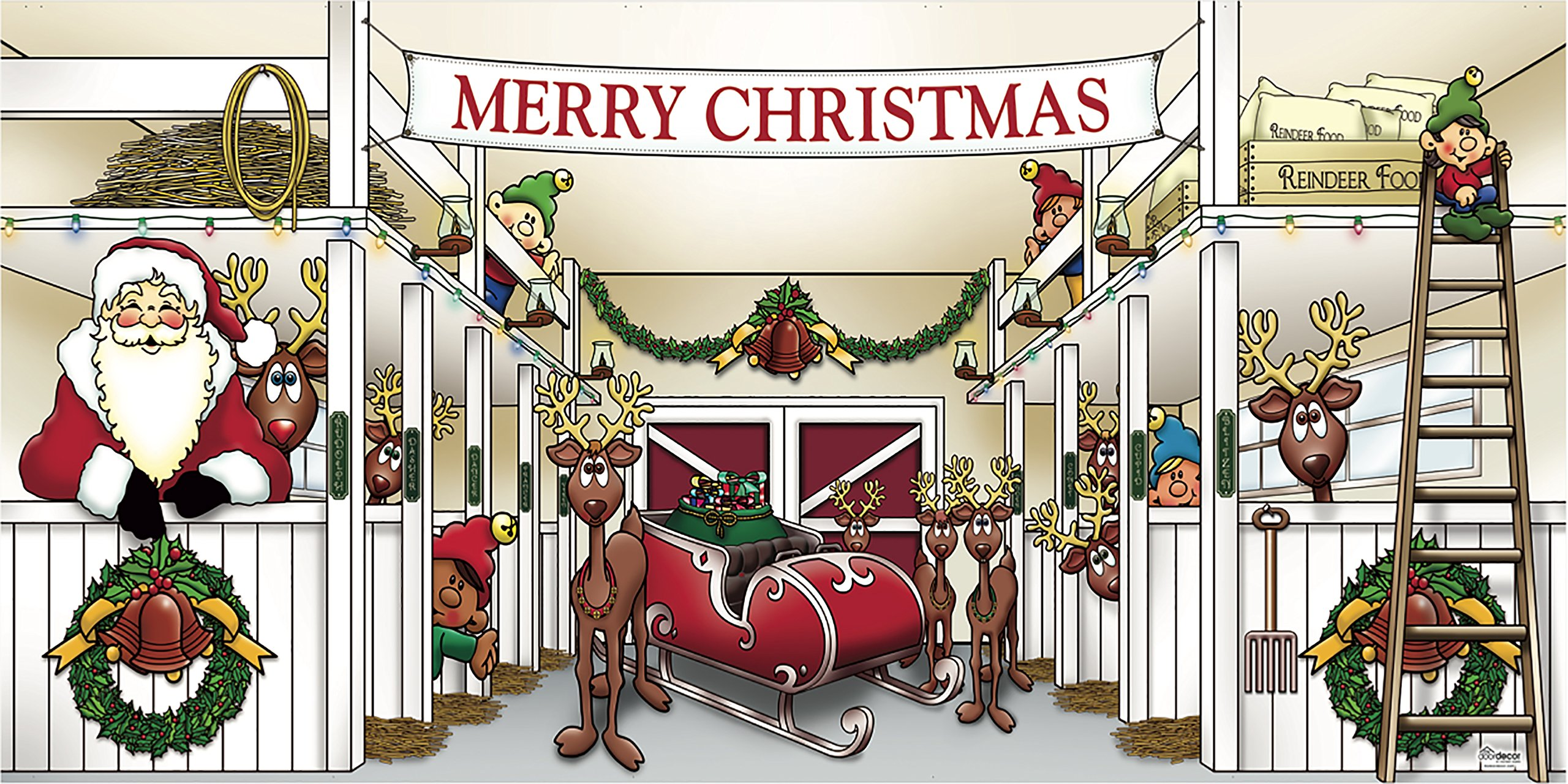 Outdoor Christmas Holiday Garage Door Banner Cover Mural Décoration 8'x16' - Huge Santa's Reindeer Barn Holiday Garage Door Banner Décor Sign 8'x16'