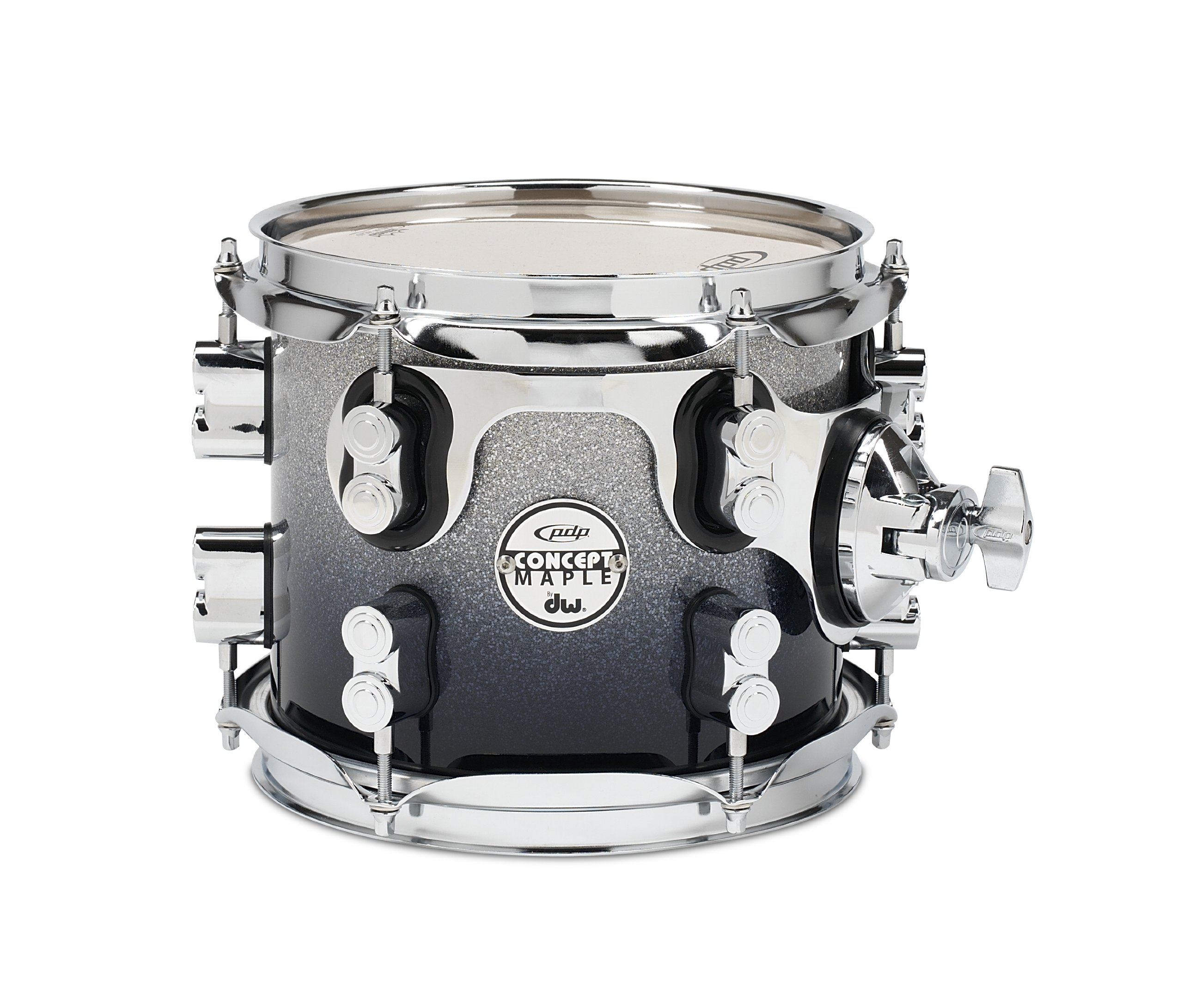 Pacific Drums PDCM0708STSB 7 x 8 Inches Tom with Chrome Hardware - Silver to Black Fade