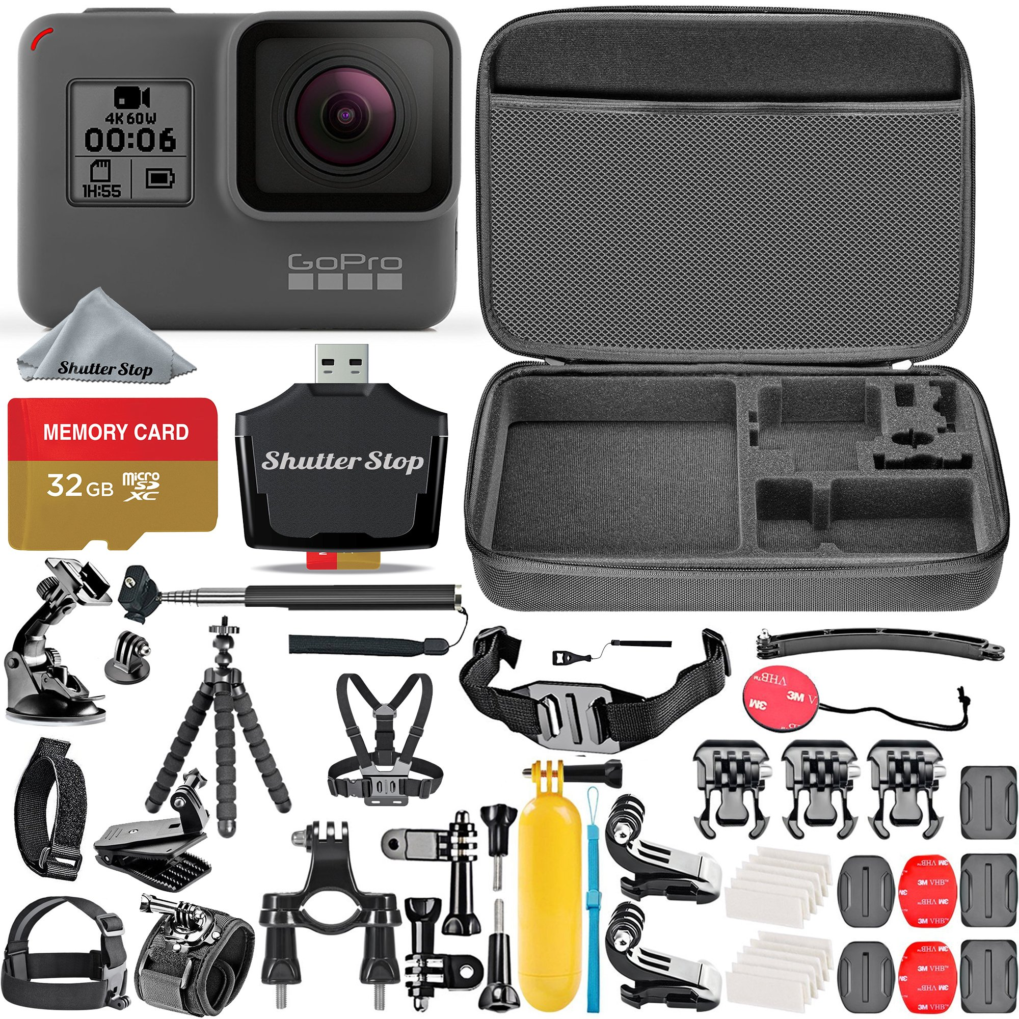 GoPro HERO5 Black + 32GB Memory Card + Hard Case + Card Reader + Chest Strap Mount + Head Strap Mount + Flexible Tripod + Extendable Monopod + Floating Handle + Hero 5 Best Value Bundle by Shutter Stop