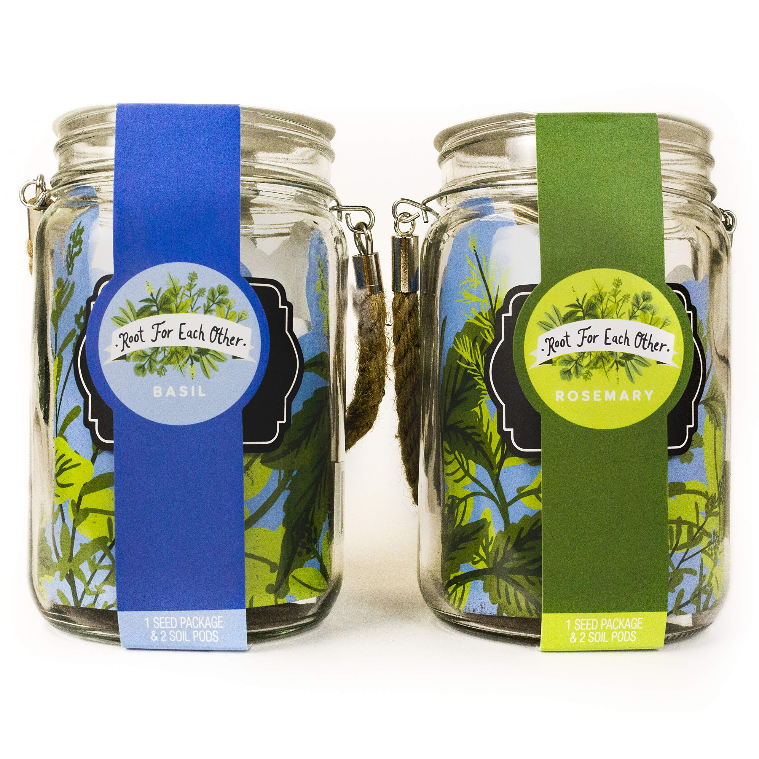 Thoughtfully Gifts, Lantern Herb Jars with Hanging Rope 2 Pack, Grow Your Own Herb Gift Set, Includes Two Stylish 24 Ounce Lantern Jar Planters, Rosemary and Basil Seeds, and 4 Soil Pods by Thoughtfully