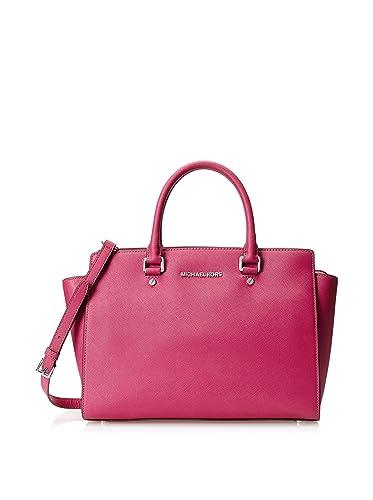 00d32dcca17b MICHAEL Michael Kors Selma Leather Large Satchel in Deep Pink: Handbags:  Amazon.com