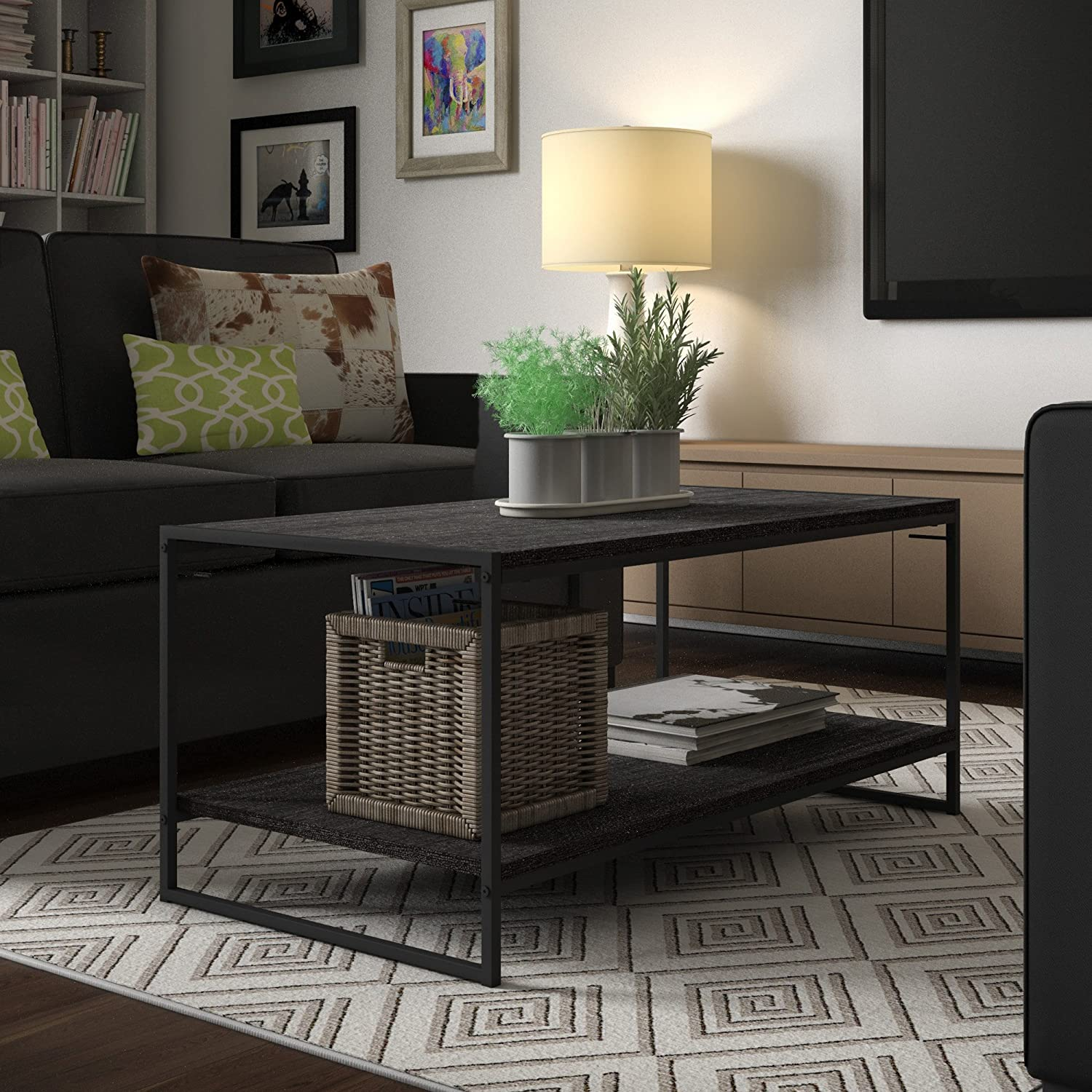 Divano Roma Furniture Modern Rectangular Coffee Table with 2 End Tables Living Room Set 3PC Set in Brown